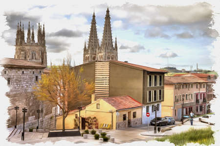 Picture from a photo. Oil paint. Imitation. Illustration. The historic center of the medieval city. Spain. Burgos
