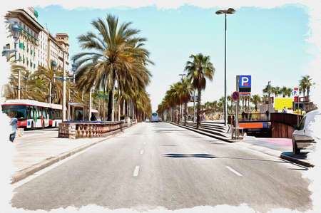 Picture from a photo. Oil paint. Imitation. Illustration. Broad street along the waterfront in the city. Spain. Barcelona