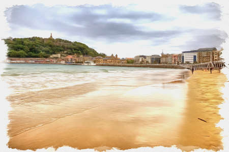 Picture from a photo. Oil paint. Imitation. Illustration. Beach town on the shore of the bay of La Concha. Spain. San Sebastian