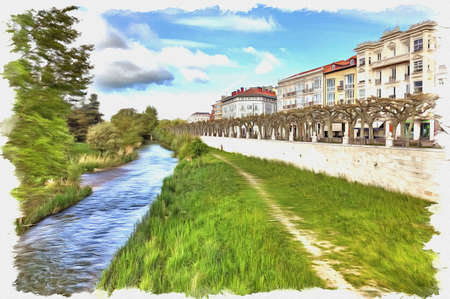 Picture from a photo. Oil paint. Imitation. Illustration. Arlanzon river divides the ancient town of the historic district and the modern neighborhoods. Spain. Burgos. Spain. Burgos   写真素材