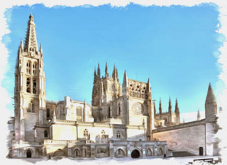 Picture from a photo. Oil paint. Imitation. Illustration. Cathedral in the city of Burgos was founded in 1221. The main Catholic church of Castile