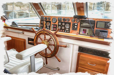 Picture from a photo. Oil paint. Imitation. Illustration. Panel with devices and steering wheel of excursion cutter