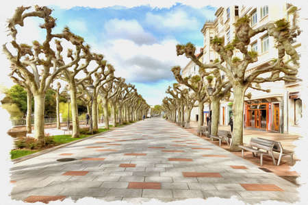 Picture from a photo. Oil paint. Imitation. Illustration. Wide boulevard on the embankment of the river Arlanzon. Spain. Burgos
