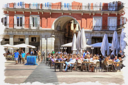 Picture from a photo. Oil paint. Imitation. Illustration. Street cafe on the main town square Mayor. Spain. Madrid 写真素材