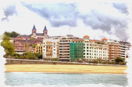 Picture from a photo. Oil paint. Imitation. Illustration. City on the bay of La Concha. European Capital of Culture. Spain. San Sebastian