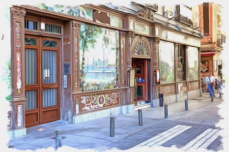 Picture from a photo. Oil paint. Imitation. Illustration. Facade of the famous cafe where putting on a show of Flamenco. Spain. Madrid