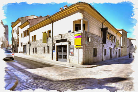Picture from a photo. Oil paint. Imitation. Illustration. The historic center of the medieval city. Spain. Avila 写真素材