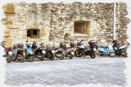 Picture from a photo. Oil paint. Imitation. Illustration. Stand of motorcycles and motorbikes near the thick wall of ancient building