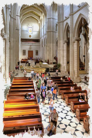Picture from a photo. Oil paint. Imitation. Illustration. Santa María la Real de La Almudena is the Catholic cathedral in Madrid