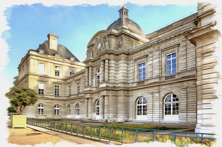 Picture from a photo. Oil paint. Imitation. Illustration. Ancient palace built for the French queen Marie de Medici. Presently it houses the Senate. France. Paris
