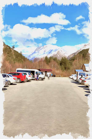 Oil paint on canvas. Picture with photo, imitation of painting. Illustration. Stand for cars and busses and a toilet for tourists Stok Fotoğraf