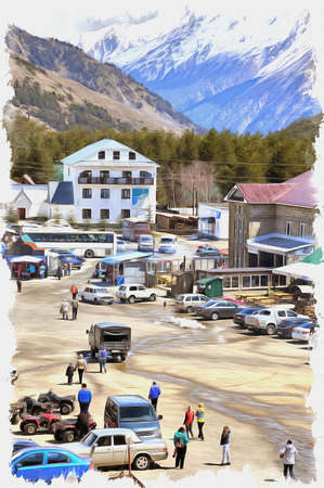 Oil paint on canvas. Picture with photo, imitation of painting. Illustration. Settlement of municipal type of Cheget. Resting place of tourists and skiers near the foot of mountain Cheget Stok Fotoğraf
