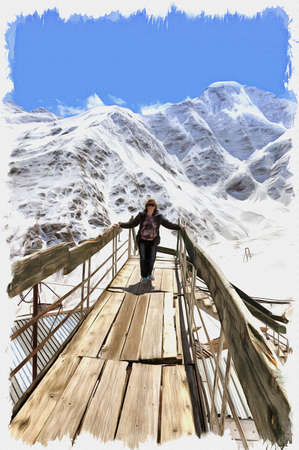 Oil paint on canvas. Picture with photo, imitation of painting. Illustration. Great Caucasus Range. Woman on verge of flooring on a background mountains