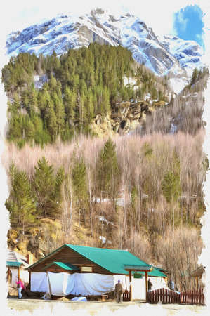 Oil paint on canvas. Picture with photo, imitation of painting. Illustration. Modern building in a valley on a background mountains