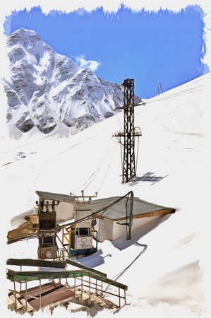 Oil paint on canvas. Picture with photo, imitation of painting. Illustration. Great Caucasus Range. View of the electrical substation on the slope of mountain Cheget