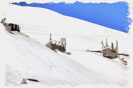 Oil paint on canvas. Picture with photo, imitation of painting. Illustration. Great Caucasus Range. View of the relay station on the mountain Cheget