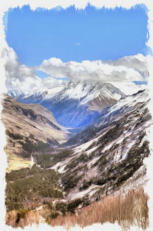 Oil paint on canvas. Picture with photo, imitation of painting. Illustration. Great Caucasus Range. View of the Baksan ravine