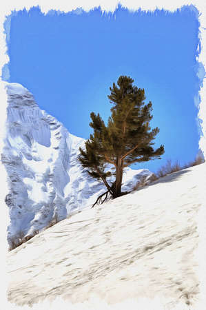 Oil paint on canvas. Picture with photo, imitation of painting. Illustration. Large Caucasian backbone. Pine-tree on the slope of mountain Cheget Stok Fotoğraf