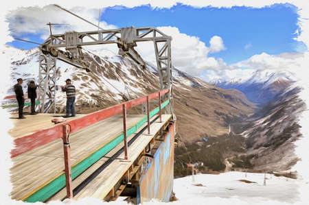 Oil paint on canvas. Picture with photo, imitation of painting. Illustration. Great Caucasus Range. Station of ropeway on the slope of mountain Cheget Stok Fotoğraf