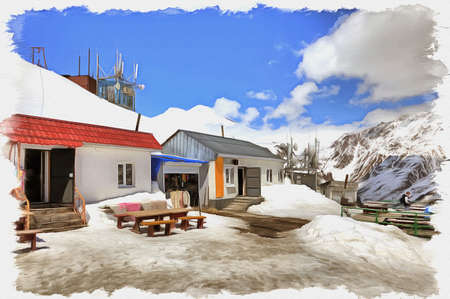 Oil paint on canvas. Picture with photo, imitation of painting. Illustration. Great Caucasus Range. A small cafe on the alpine slopes of mountain Cheget Stok Fotoğraf