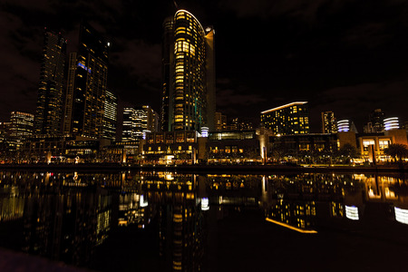 sky scrapers: Image of the Melbourne City lights at Night.Lights are Reflected in the Yarra River.