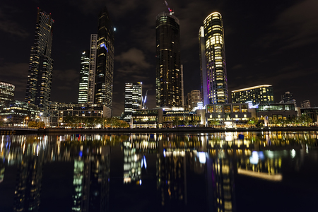 scrapers: The Lights of the city of Melbourne.
