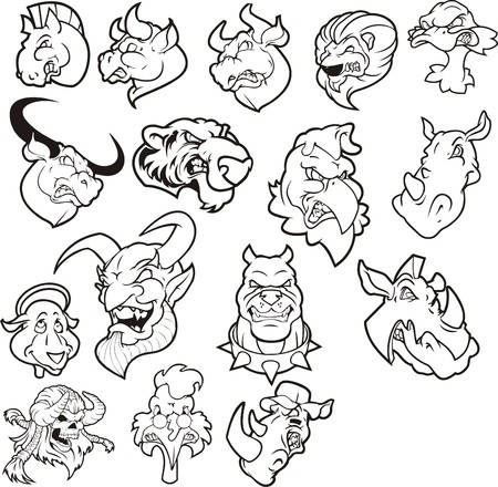 plotter: Vector clipart angry animals for plotter