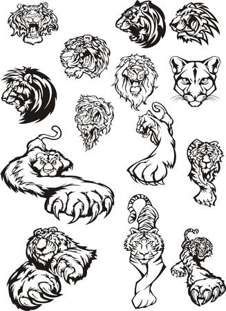plotter: Vector clipart lion tiger for plotter