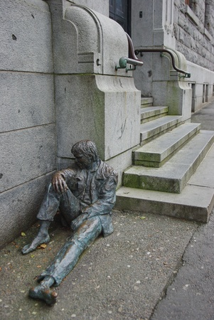 Homeless bronze sculpture in Oslo
