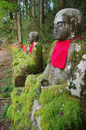 Row of stone Buddha image photo