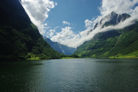 Fjord in a bright sunny day Stock Photo