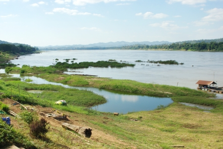 Mekong river on the boader between Thailand and Laos Stock Photo