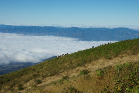 Trekking over the mountain top