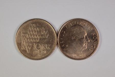 10 Norwegian krone coins Stock Photo
