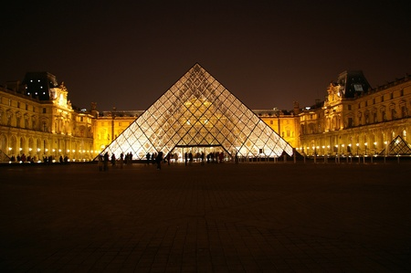 Musée du Louvre at night time Editorial