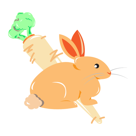 A rabbit figure with a big carrot in the background,vector illustration,animal vector illustration,cartoon vector,cartoon character