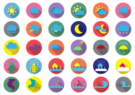 flooding: Colorful weather flat icons.