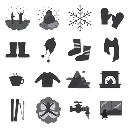 snowcapped mountain: Winter solid icons, Sixteen grey scale winter solid icons, Vector illustration, Cartoon solid icons, Solid icons with winter theme Illustration