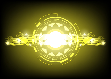 Abstract yellow digital sun background with bright flare, Vector illustration, Digital abstract background vector illustraton, Circle technological sun on yellow background, Vector digital technology concept Illustration