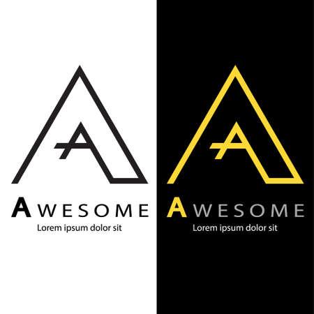 Abstract alphabet A logo, Decorative English letter A logo, Design of capital letter logo, Vector illustration, Vector graphic design of unique alphabet logo Logó