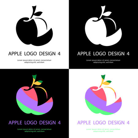 Abstract apple logo design, Decorative apple logo design, Design of fruit logo, Vector illustration, Colorful apple logo design