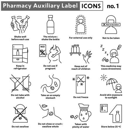 Pharmacy auxiliary label line icons, Medicine caution label sign, Caution for drug use line icons, Cartoon pharmacy label icon design, Vector illustration