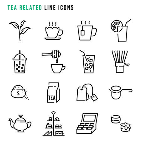 Tea related line icons, Various tea related line icons, Cute cartoon line icons of tea related object, Abstract tea related line icons, Vector illustration