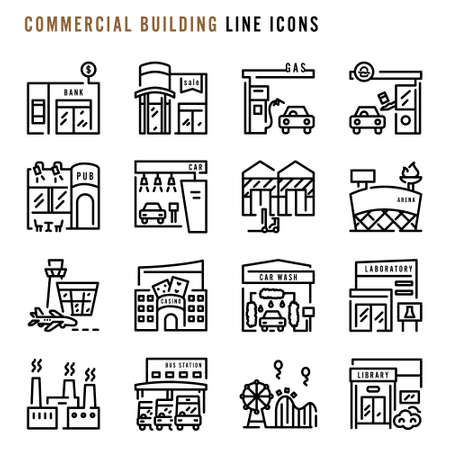 Commercial building line icons, Various commercial building line icons, Cute cartoon line icons of commercial buildings, Abstract commercial building line icons, Vector illustration Illustration