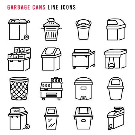 Garbage cans  line icons, Pixel perfect garbage cans thin line icons, Set of simple garbage cans sign line icons, Cute cartoon line icons set, Vector illustration