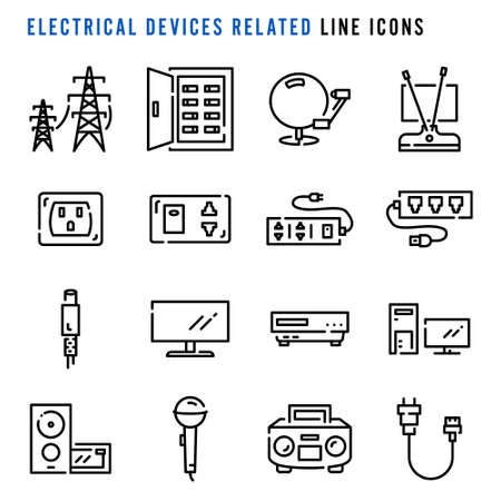 Electrical devices related line icons, Pixel perfect electrical devices related thin line icons, Set of simple electrical devices related sign line icons, Cute cartoon line icons set, Vector illustration