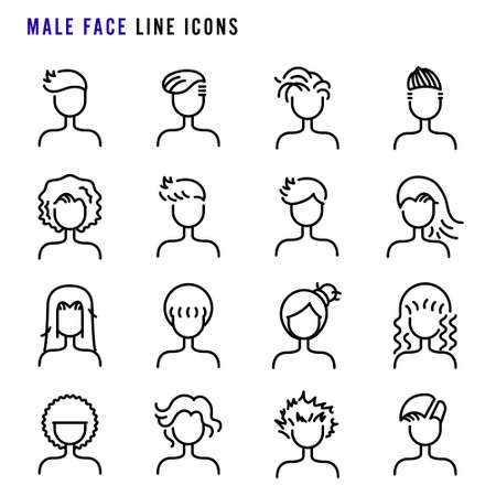 Male face line icons, Hair styles on male face line icons, Set of simple male face sign line icons, Cute cartoon line icons set, Vector illustration