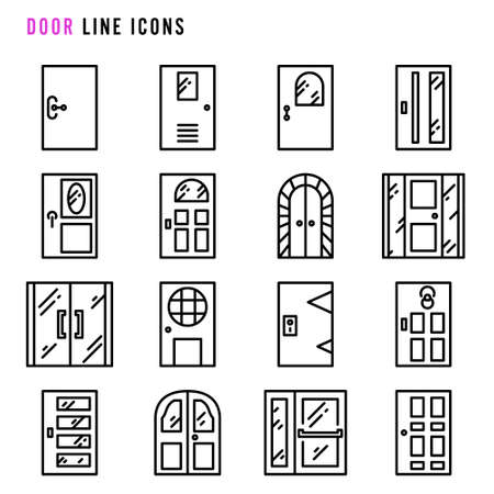 Door line icons, Pixel perfect of various door thin line icons, Set of simple doors sign line icons, Cute cartoon line icons set, Vector illustration 向量圖像