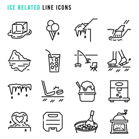 Ice related line icons,  Set of simple ice related sign line icons, Cute cartoon line icons set, Vector illustration, Ice related things line icons