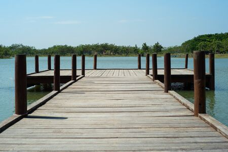 Wooden bridge into the lake with trees and horizontal line in background